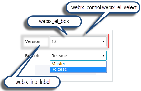 Webix Select CSS map